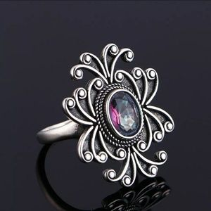New silver s925 mystic fire topaz ring